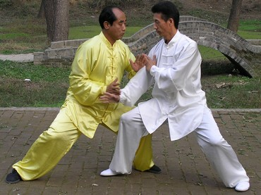 Chen Tai Chi Pushing Hands : Chen Zhao Sen (left)