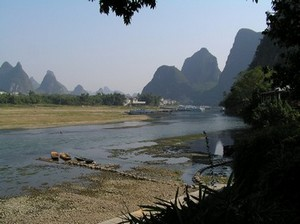 The Li River frontage at Yangshuo